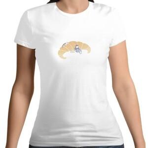 餐桌小旅行-牛角麵包  /  Women 's Cotton Round Neck T - shirt