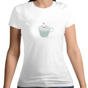 餐桌小旅行-茶杯  /  Women 's Cotton Round Neck T - shirt