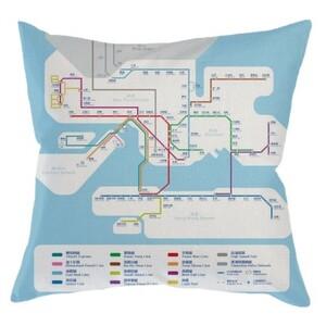 """MTR 港鐵線路圖Linen Pillow 16""""x16"""""""