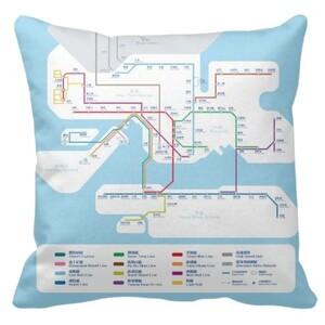 "MTR 港鐵線路圖Plush Pillow 16"" x 16"""