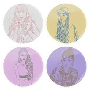 GIRLS/ Round Glass Coasters (4Pcs)