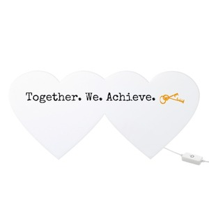 Together we achieve - Heart Shaped Light Box sign for housewarming gift ideas