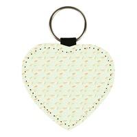 True leather heart-shaped key chain