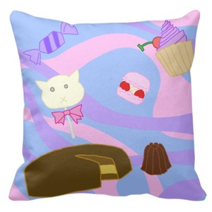 "Throw Pillow 16"" x 16"" happy sweet life"