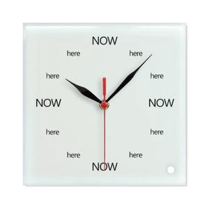 Here Now 覺察當下 - Square Glass Wall Clock玻璃方形掛牆鐘 (可座枱)