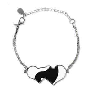 Heart Shaped Ying Yang Bracelet