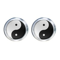 Ying Yang Round Stud Earrings