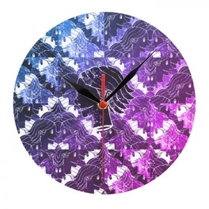 Illusion cool hairstyle galaxy kid smile pattern large clock