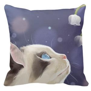"Throw Pillow 16"" x 16"" 可愛貓咪抱枕"