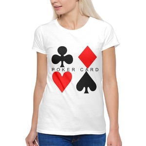 Black and Red Poker Card 女裝棉質圓領T恤