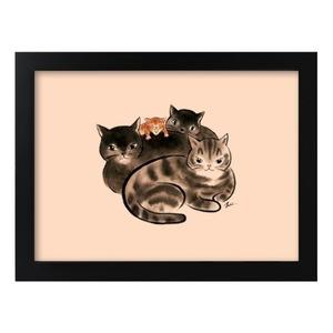 水墨貓咪家族-畫框連畫