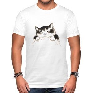 水墨貓 Hug me fat cat~男裝棉質圓領T恤