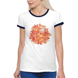 水墨貓花球~女裝棉質彩邊圓領T恤