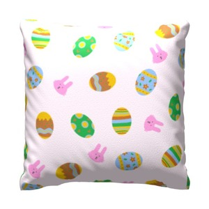 "easter eggs and bunnies pattern Throw Pillow 16"" x 16"""