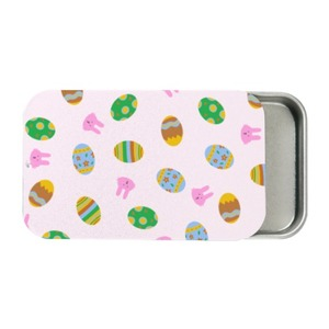 easter eggs and bunnies pattern Metal Slide Top Tin