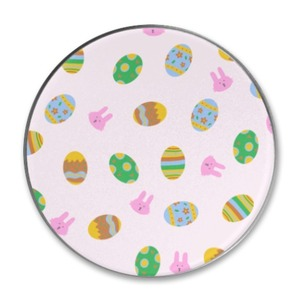 easter eggs and bunnies pattern Round Metallic Tin