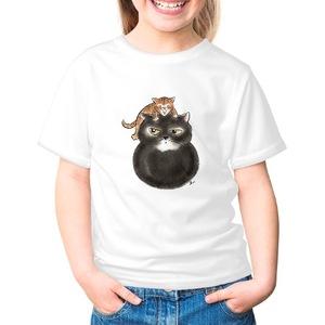 水墨貓大金和小毛~女童棉質圓領T恤