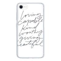 9son iPhone SE 透明防撞殼(2020 亞加力硬款)- 文青白