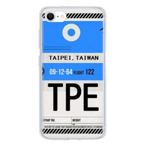 9son iPhone SE 透明防撞殼(2020 TUP軟款)-登機證藍