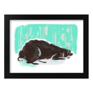 小黑狗 裝飾黑框畫 Framed Print