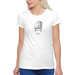 椅子上有睡神 女裝棉質圓領T恤 Women's Basic T-Shirt
