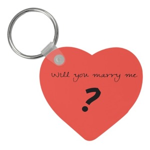 Wooden Keychain - Heart  Will you marry  me?