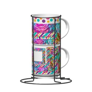 2-Cups Set with Metal stand, 9oz   Colourful Cup