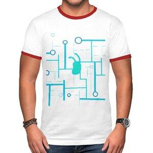 future( •̀ ω •́ )✧男裝棉質彩邊圓領T恤