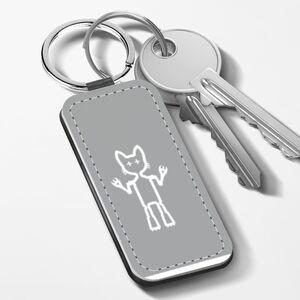 Cool Cat Warrior 長方形皮鑰匙圈