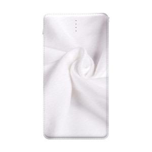 柔软白色棉布10000mAh 皮纹行动电源