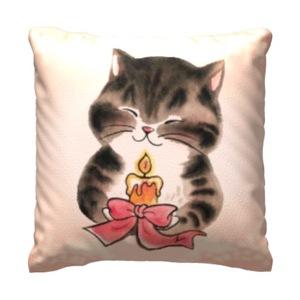 Cat Blessing Candle16x16吋細毛絨抱枕