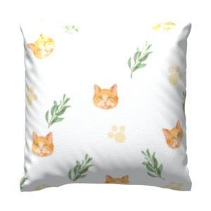 典雅小菊貓款-白色 16x16吋細毛絨抱枕