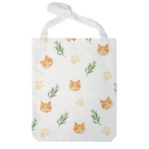 典雅小菊貓款-白色 特大帆布單肩袋