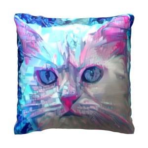 赛博朋克-猫 16x16吋细毛绒抱枕