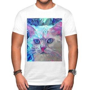 赛博朋克-猫 男装棉质圆领T恤