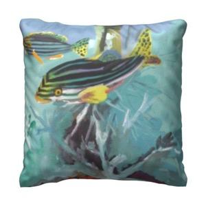 深海水族 16x16 吋細毛絨抱枕