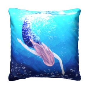 mermaid 16x16吋细毛绒抱枕