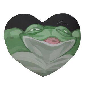 青蛙20 x 18吋細毛絨心形抱枕