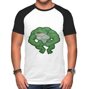 青蛙男裝棉質插肩圓領T恤