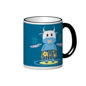 愛吃的小藍牛.彩邊陶瓷杯, 12oz