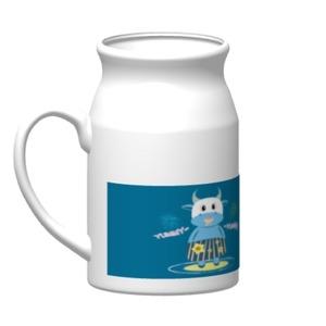 愛吃的小藍牛.陶瓷牛奶杯, 16oz