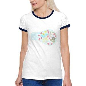 lovely flower 可愛的花女裝棉質彩邊圓領T恤