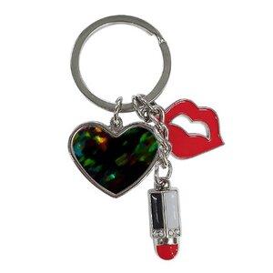 極光色彩-夏日樹蔭光影午後時光紅唇與唇膏心形鑰匙圈