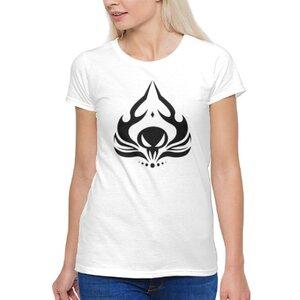 火焰骷髏圖騰女裝棉質圓領T恤