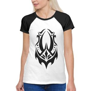 惡魔兔子圖騰女裝棉質插肩圓領T恤