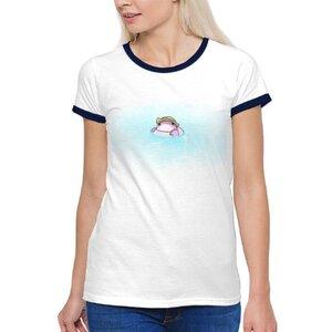 小螃蟹游泳女裝棉質彩邊圓領T恤