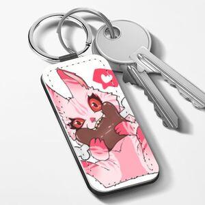 食肉兔 長方形皮鑰匙圈