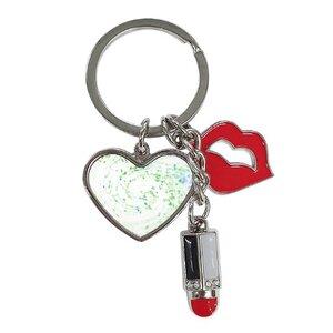 奇幻漩渦紅唇與唇膏心形鑰匙圈