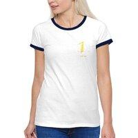 源自六角(黃)-女裝棉質彩邊圓領T恤