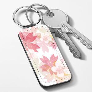 櫻花之春 長方形皮鑰匙圈